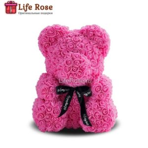 Розовый Мишка из роз 25 см
