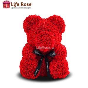 Красный мишка из роз 25 см