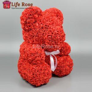 Красный мишка из роз 40 см