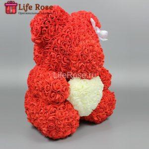 Красный Мишка из роз с сердцем 40 см