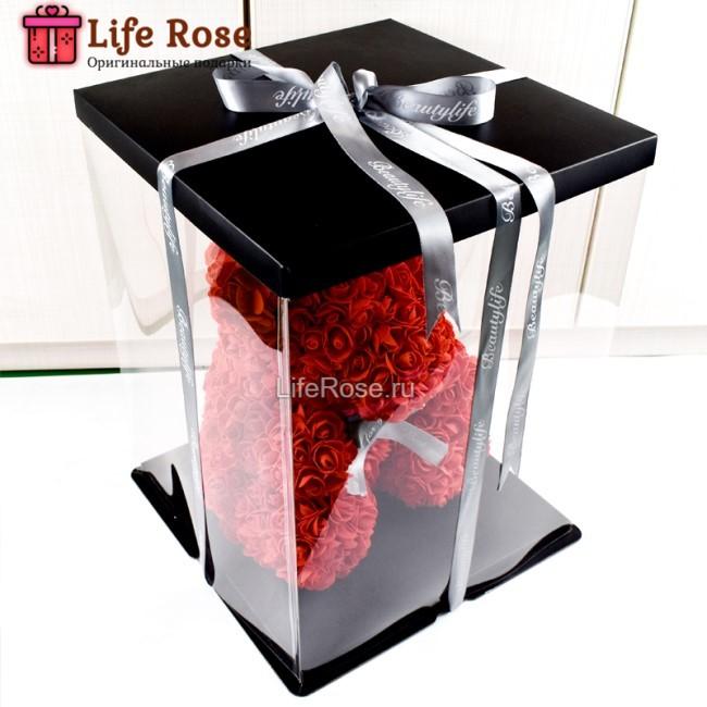 Подарочная Коробка для Мишки из роз 25 см