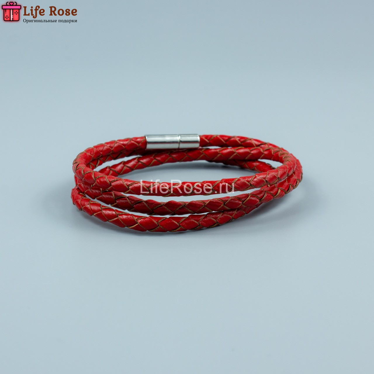 Браслет Кожаный Красный